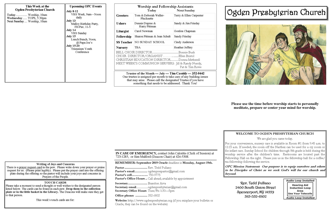 Weekly Bulletin/Sermon - Ogden Presbyterian Church